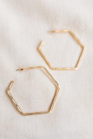 sku18584   50mm Textured Octagon Hoop Earrings