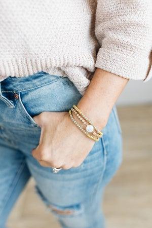 sku20699   Pearl Disc Beaded Bracelet Set