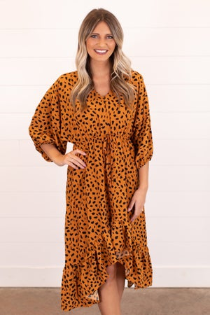 sku16588 | Animal Print Hi-Lo Midi Dress