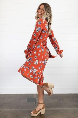 sku18172 | Floral Hi-Lo Wrap Dress