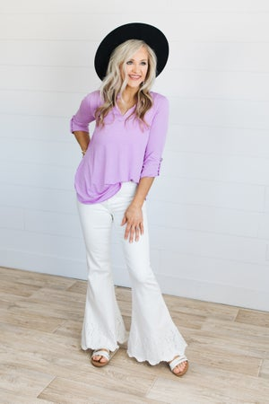 sku19937 | Solid Tab Sleeve Top