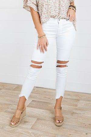 sku20226 | Destroyed Hi-Lo Hem Skinny Jeans