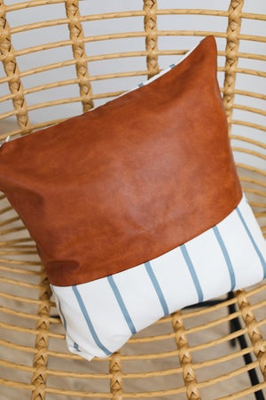 sku19374 | **Daily Deal** Faux Leather Striped Pillow Cover