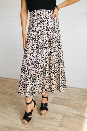 sku19402   **Daily Deal** Animal Print Tiered Midi Skirt