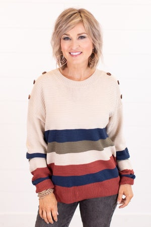 sku16537 | Color Block Button Detail Sweater