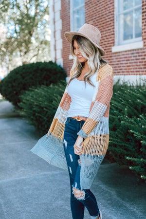 sku15390 | Color Block Open Knit Cardigan