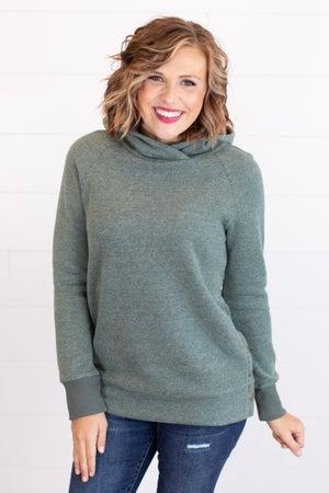 sku17431 | Heathered Hoodie Tunic Sweatshirt