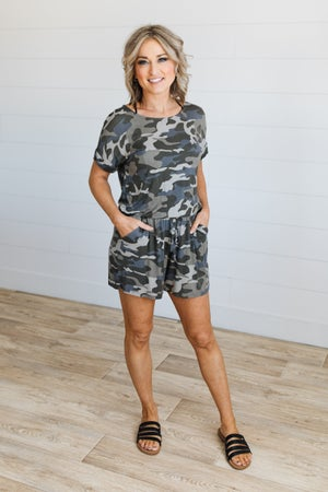 sku19467 | **Daily Deal** Camo Drawstring Romper