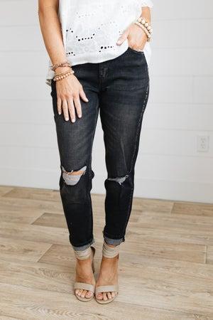 sku20402 | KanCan Distressed High Rise Mom Jeans
