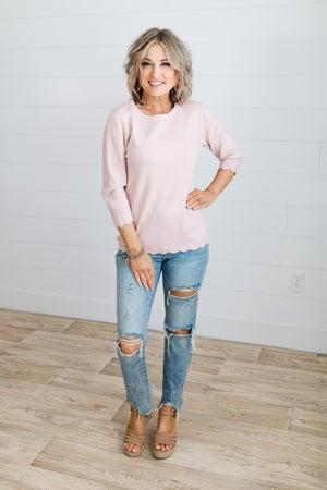 sku18352 | Scalloped Hem Sweater