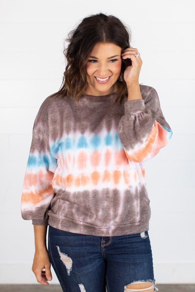 sku15577 | Tie Dye Pocket Pullover