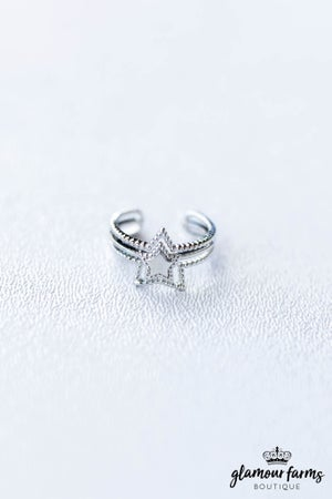 sku12610   Multi Row Star Cuff Ring