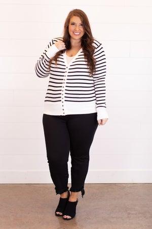 sku17435 | Striped Snap Cardigan