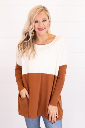sku18003 | Color Block Tunic Sweater