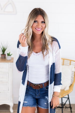 sku13915   Striped Open Knit Cardigan