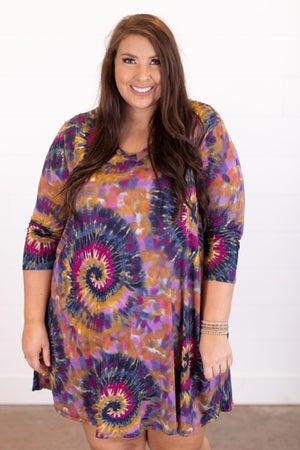 sku16711 | Spiral Tie Dyed Dress