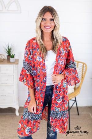 sku14923   Floral Chiffon Kimono