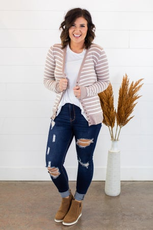 sku15217 | **Daily Deal** Striped Snap Cardigan