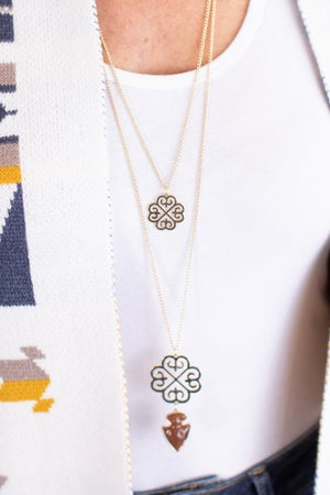 sku17357   Clover And Arrowhead Necklace