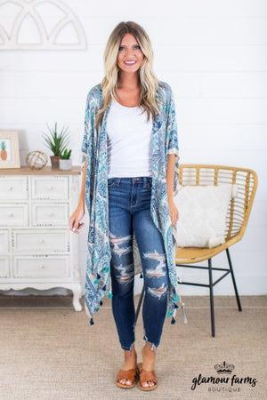sku14952 | Paisley Tassel Trim Kimono
