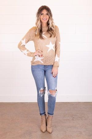 sku18135 | Distressed Star Print Sweater