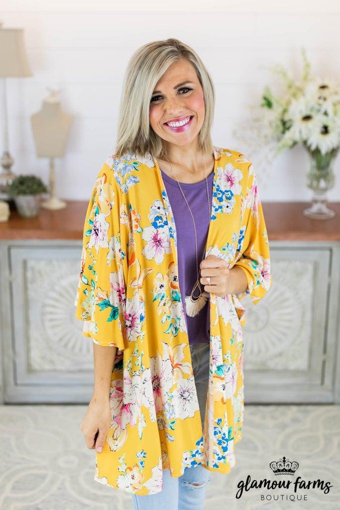 sku8076 | Floral Bell Sleeve Kimono