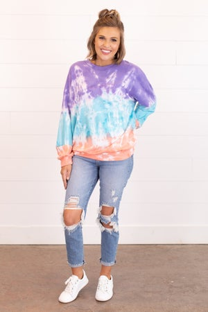 sku16488 | Tie Dyed Color Block Sweatshirt