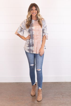 sku17612 | Tie Dye Ruffle Sleeve Top