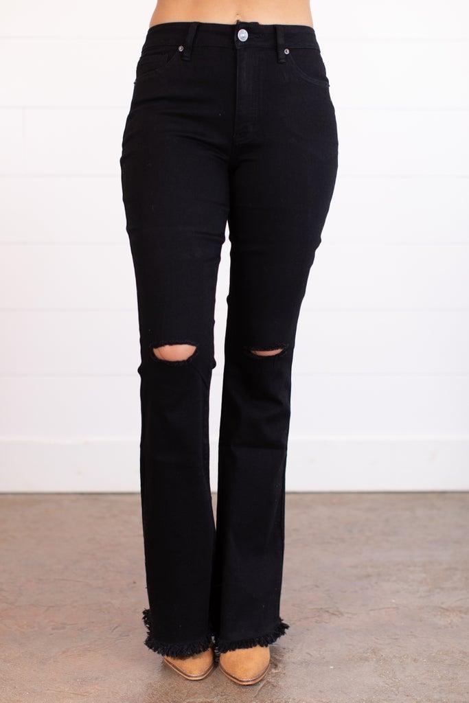 sku17510 | Hi-Rise Distressed Flared Jeans
