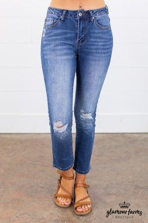 sku15117 | Distressed Bootcut Jean