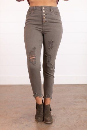 sku16187 | Distressed Button Fly Twill Pants