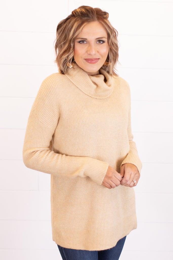 sku16978 | Ribbed Knit Cowl Neck Sweater