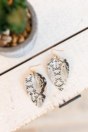 sku18577   Faux Leather Teardrop Earrings