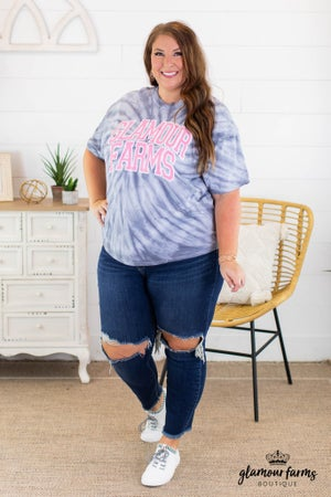 sku14724 | Glamour Farms Tie Dyed Graphic Tee