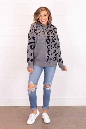 sku17033   Animal Print Hooded Sweater
