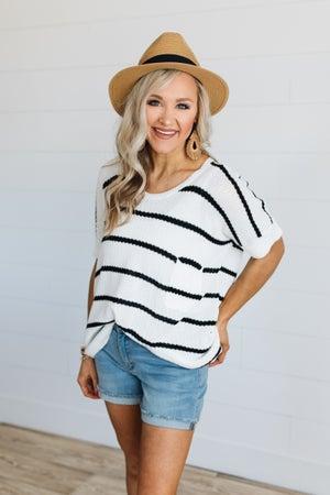 sku19221 | Striped Rolled Sleeve Tunic Sweater
