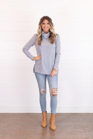 sku17946 | Heathered Knit Cowl Neck Sweater