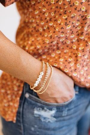 sku19638 | Letter Beaded Charm Layered Bracelet