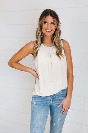 sku19509 | **Daily Deal** Pleated Neck Tank