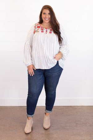sku16778 | Floral Embroidered Striped Top