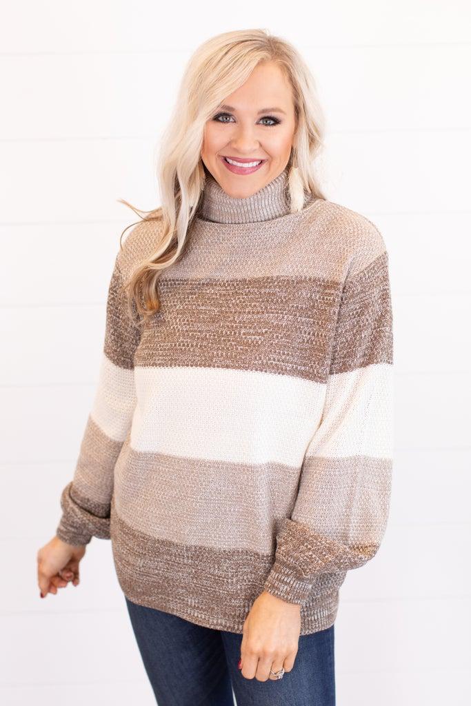 sku16284   Color Block Turtleneck Sweater