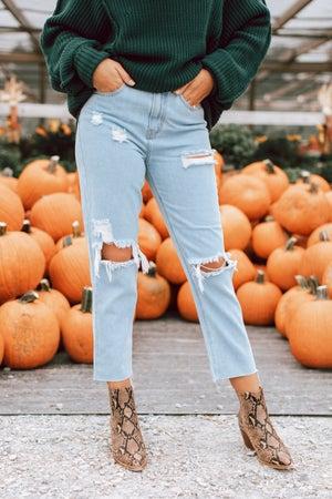 sku16064   Distressed High Rise Jeans