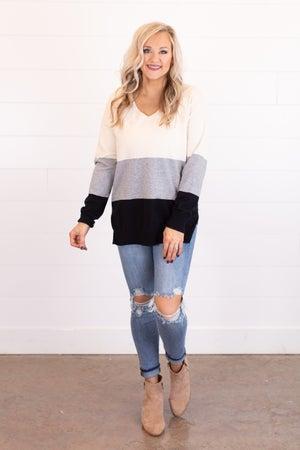 sku15957 | Color Block Tunic Sweater