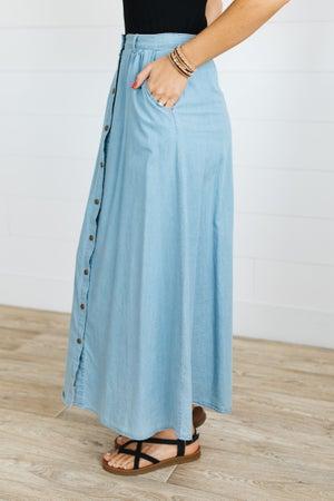 sku19399 | Snap Up Chambray Maxi Skirt