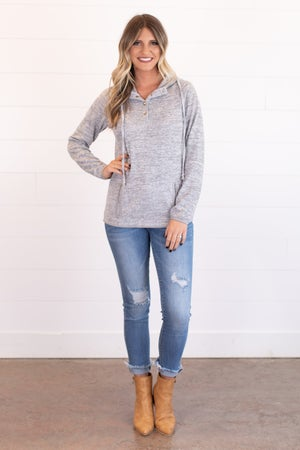 sku17524 | **DOORBUSTERS** Heathered Knit Hooded Pullover