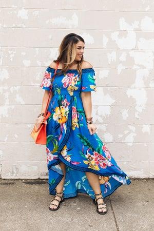 sku21003 | Floral Off Shoulder Midi Dress