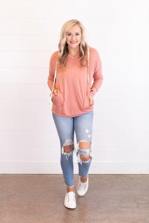 sku17745 | Heathered Knit Hooded Tunic