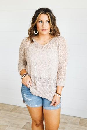 sku21054 | Marled Open Knit Hi-Lo Sweater