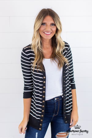 sku15170 | **Daily Deal** Striped Snap Cardigan