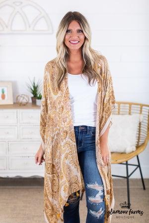 sku14951 | Paisley Tassel Trim Kimono